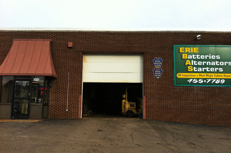 Erie Batteries, Alternators, Starters full service inspection and repair facility at 1915 Parade Street, Erie PA 16503.