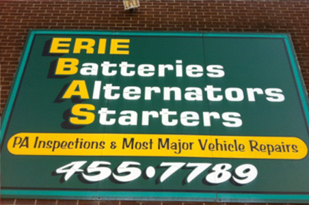 Erie Batteries, Alternators, Starters Sign located at 1915 Parade Street in Erie, PA.